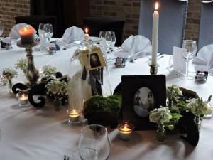 centre de table de mariage sur le thème de Tim Burton